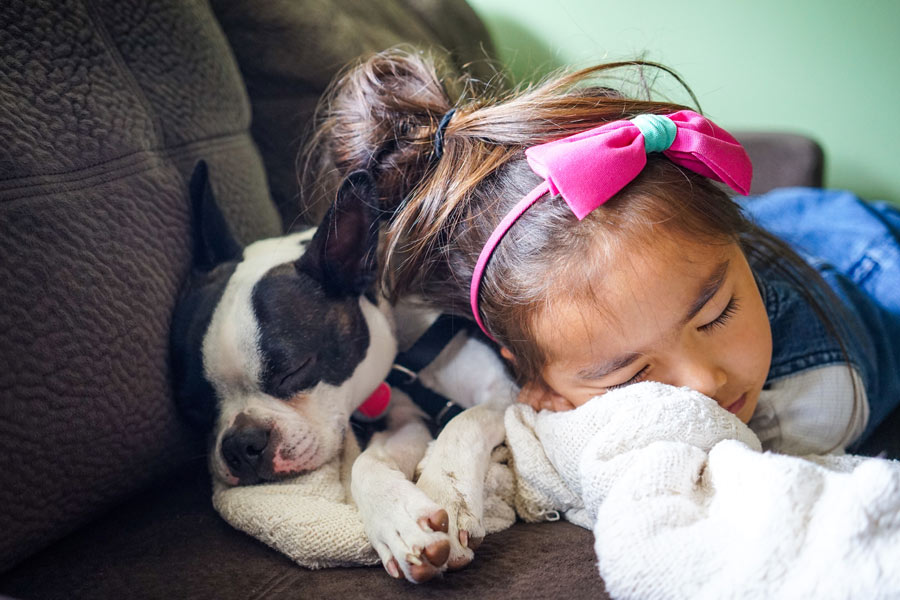 little girl lying next to her dog, kids and pets