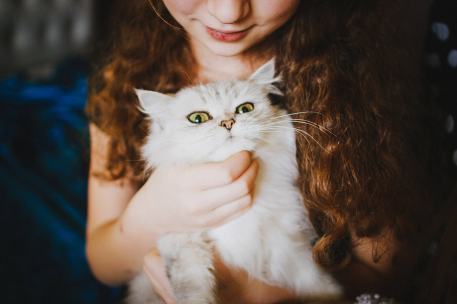 young girl holding cat, loss of a family pet